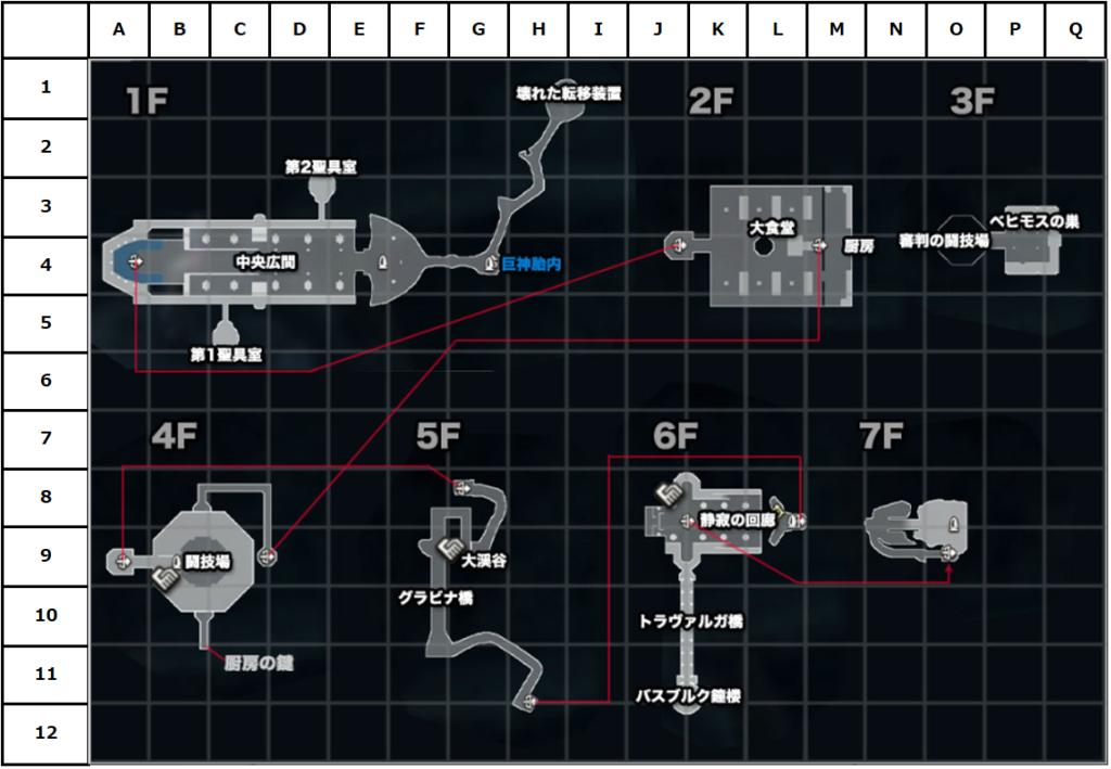 監獄島マップ(座標付き)