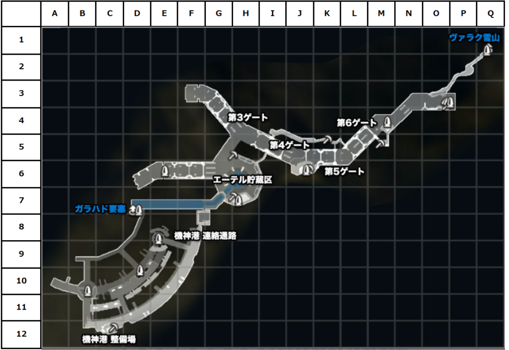 大剣の渓谷マップ(座標付き)