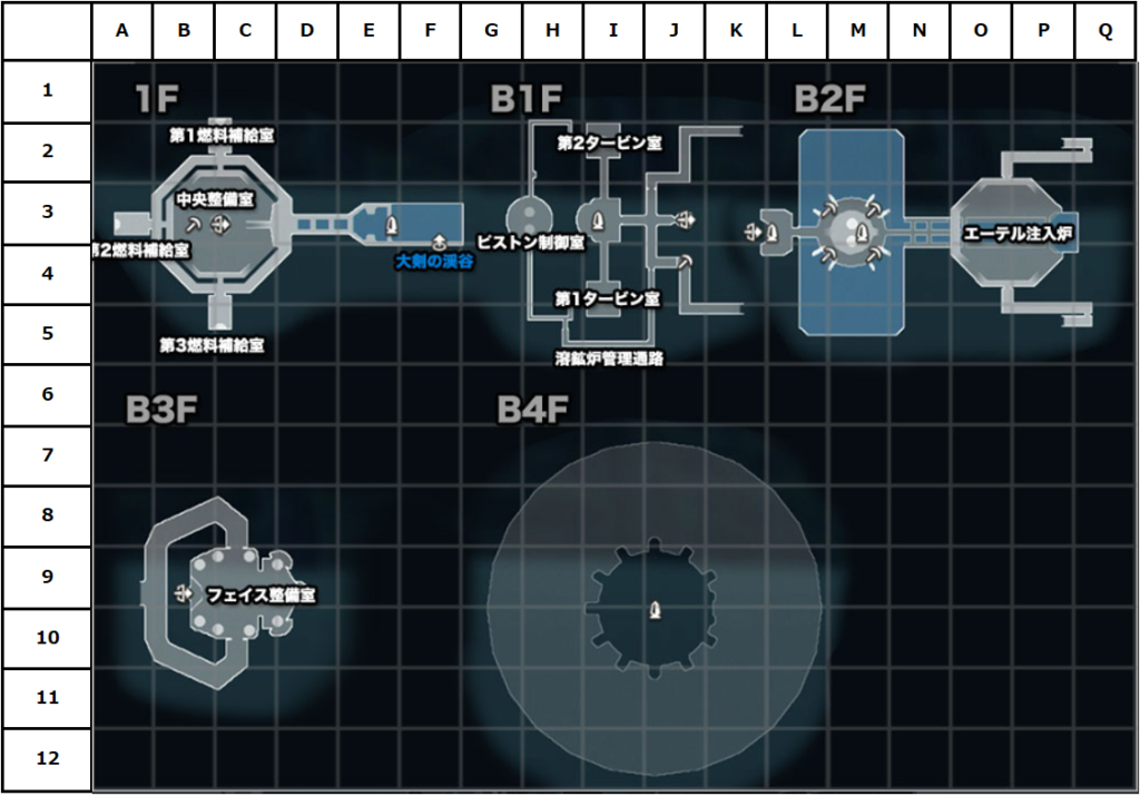 ガラハド要塞マップ(座標付き)