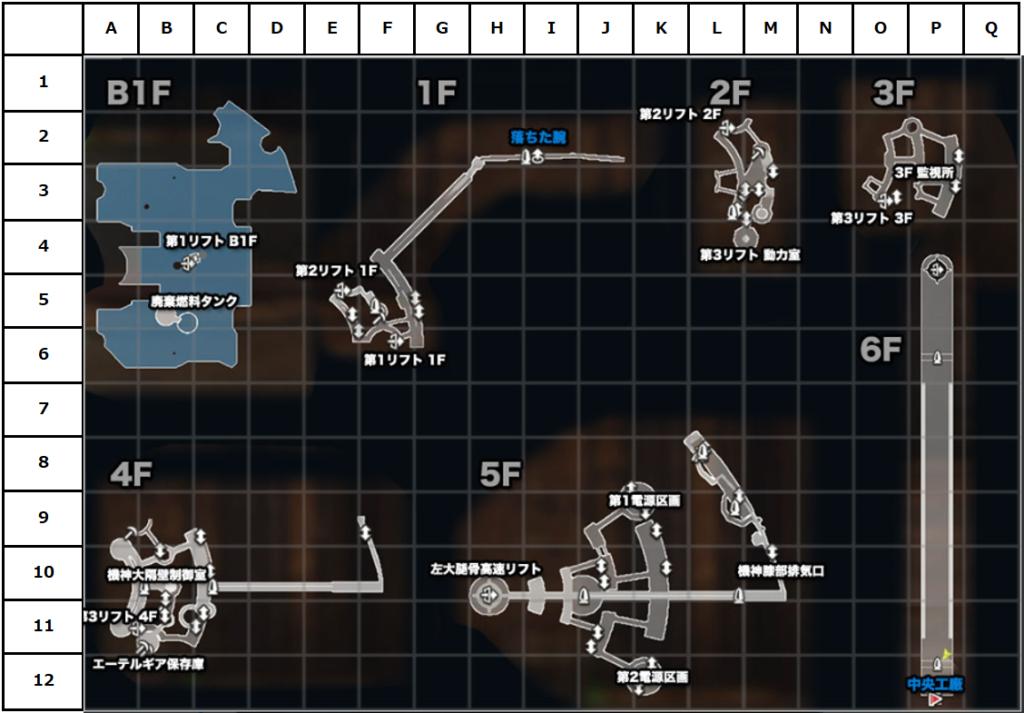 機神界フィールドマップ(座標付き)
