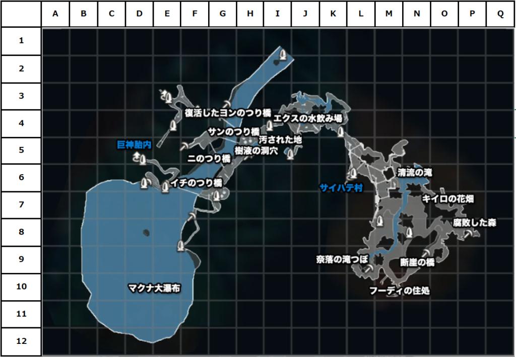 マクナ原生林マップ(座標付き)